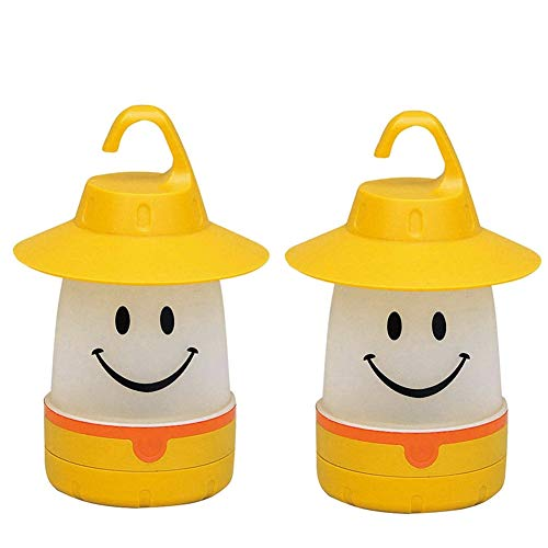 hothuimin 2 Pack Smiley Face Portable LED Lantern Tent Light Kids Emergency Lights for Camping Hiking Fishing (Yellow)