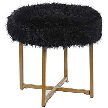 Amazon Com Glam Faux Furry Black Long Fur Ottoman With
