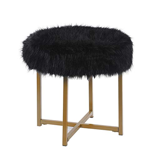 HomePop Round Faux Fur Stool with Metal Base, Black
