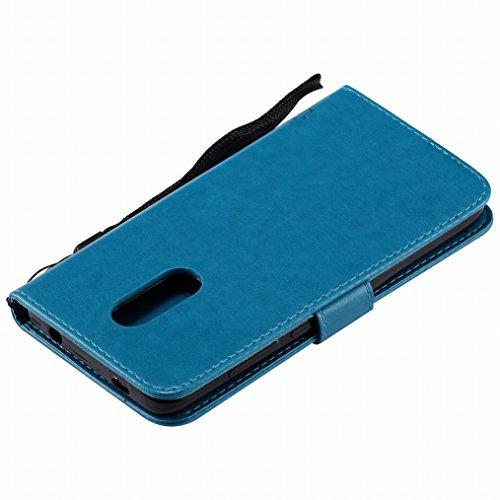 LEMORRY Xiaomi Redmi Note 4X Funda Estuches Pluma Repujado Cuero Flip Billetera Bolsa Piel Slim Bumper Protector Magnética Cierre TPU Silicona Carcasa Tapa para Xiaomi Redmi Note 4, Árbol Suerte (Luz  Azul