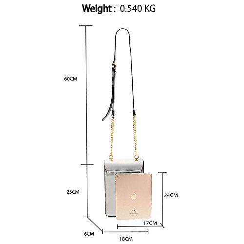 Design Faux Bags Shoulder 2 Messenger Crossbody Designer Grey Cross Leather Ladies Body Womens wHvq4a