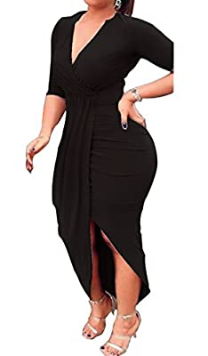 AM CLOTHES Womens Sexy Long Sleeve High Low Ruched Slit Bodycon Party Midi Dresses
