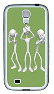 3D Silver People TPU Rubber Soft Case Cover For Samsung Galaxy S4 SIV I9500 White