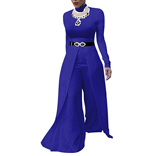 One Piece Jumpsuits For Women Long Sleeve Elegant For Party Wide Leg Flare Long Romper Pants Outfit Blue M ()