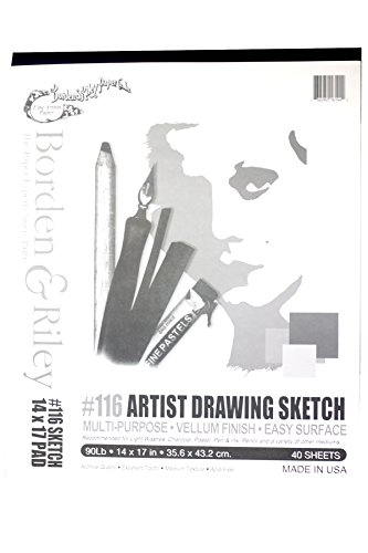 Borden & Riley #116 Artist Drawing/Sketch Vellum Clothbound Pads 14 in. x 17 in. 40 sheets