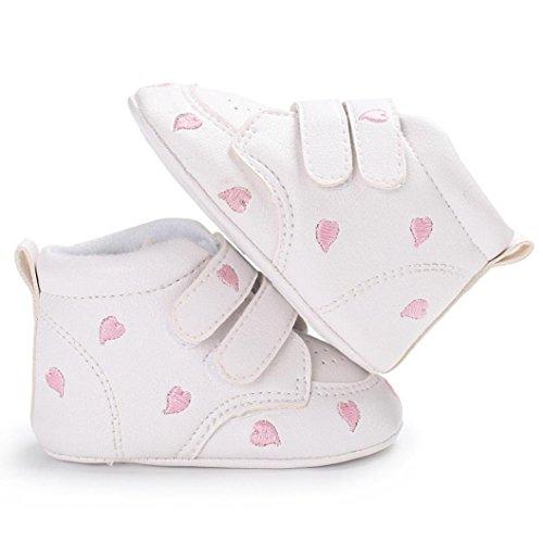 Xshuai Baby Mädchen Jungen Herzförmige Stickerei High Cut Anti-Rutsch-Soft-Schuhe Sneaker Anti-Rutsch-Schuhe Rosa