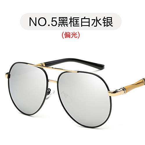 de Sol de Gafas Gafas Negro frame polarizadas Moda polarizadas de Blanco Color Gafas mercury Black Marco de para Burenqiq Mercurio Espejos de Metal conducción white Hombre de Sol wPXA541q