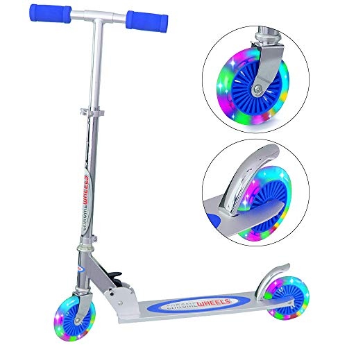 Blue Wheels 2 (ChromeWheels Kick Scooter for Kids, Deluxe 4 Adjustable Height 2 Wheels with LED Flashing Light, for Age 5 up Kids, 132lb Weight Limit, Blue)