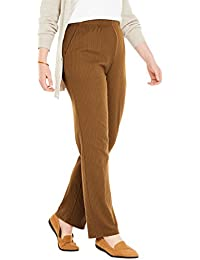 Plus Size Petite 7-Day Knit Ribbed Straight Leg Pant