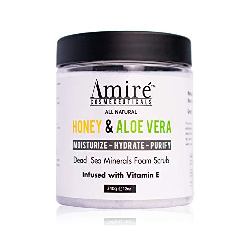 Dead Sea Minerals Foam Exfoliating Body Scrub with Honey and Aloe Vera   Moisturize, Hydrate, and Purify your Skin   Infused with Vitamin E   Great to Reduce Severity of Acne Breakouts ()