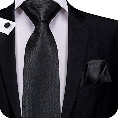 Hi-Tie Men Solid Tie Pocket Square Cufflinks Set Pure Color Necktie Wedding Ties Gift Box (Black)