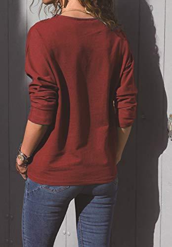Tee Shirt Col Femmes Hauts Patchwork et Femme Jumper Automne Shirts Manches Sweat T Rouge shirts Pulls OUFour Printemps Tops Blouse Fashion Longues T Rond 8OqpH4