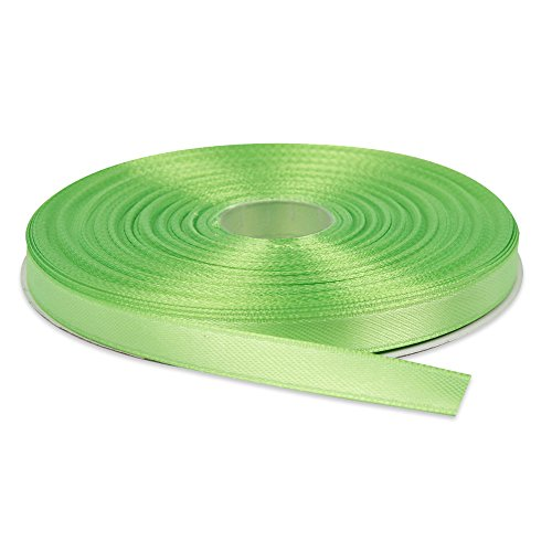 Topenca Supplies 3/8 Inches x 50 Yards Double Face Solid Satin Ribbon Roll, Apple Green