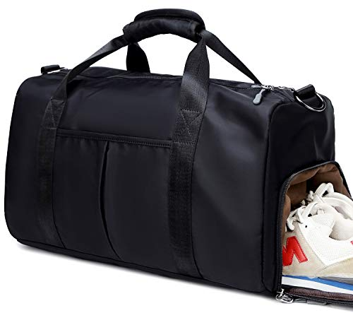 Gym Duffle Travel Bag Sport in Trolley Handle for Women Men with Shoe Compartment, Wet Pocket (Black)