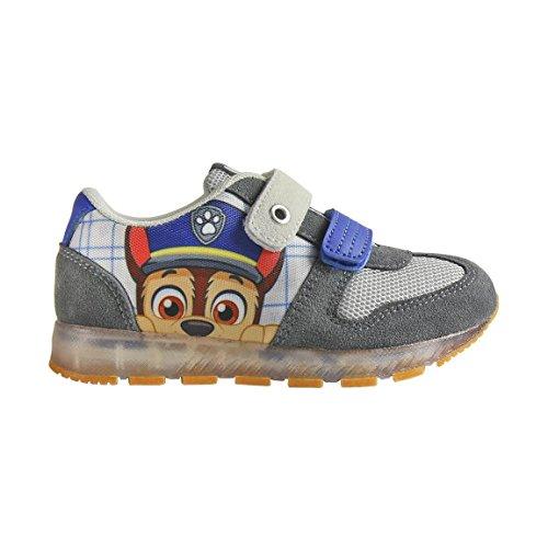 Patrulla Canina - Zapatillas con luces Chase, luces led desactivables, color azul y gris - Paw Patrol light sneakers + Lapiz con goma de regalo.