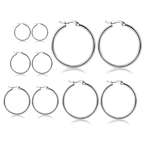 Titanium Womens Earring - Orris Pack of 5 Different Sizes, Titanium Steel Silver Plated Ear Hoop Earrings Set for Women Girls (From 1 to 5 cm)