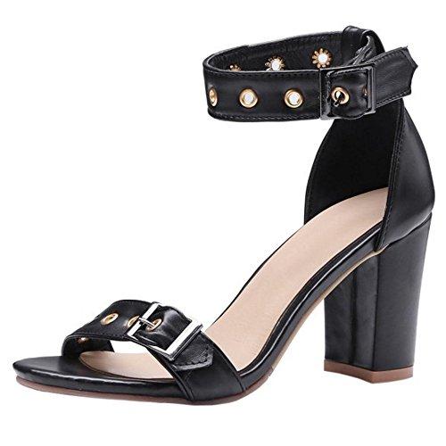 Sandales Classique 1 Femmes Bout TAOFFEN Black Ouvert I1x5w
