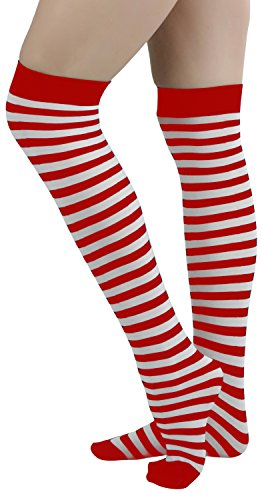 ToBeInStyle Womens Opaque Striped Knee High Warm Nylon Stockings Hosiery - White With Red Stripes - One Size: -