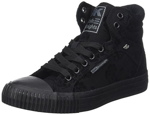 British Knights Damen DEE Hohe Sneaker, Léopard Beige, 41 EU Noir (Black Flower/Black)