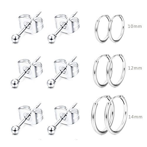 FUNRUN JEWELRY 6Pairs Sterling Silver Ball Earrings Endless Small Hoop Cartilage Earrings Set for Women Men Unisex ()