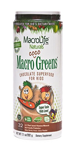 Macro Life Naturals Macro Greens - MacroLife Naturals Macro Coco Greens Drink Mix for Kids – All Natural Green Superfood with 3.5 Billion Probiotics & Enzymes to Aid Digestion & Support Immune - Gluten Free & Vegan Ingredients