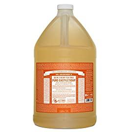 Dr. Bronner's - Pure-Castile Liquid Soap (Tea Tree, 1 Gallon) 4 MADE WITH ORGANIC OILS & CERTIFIED FAIR TRADE INGREDIENTS: Dr. Bronner's Pure-Castile Liquid Soaps are made with over 90% organic ingredients. Over 70% of ingredients are certified fair trade, meaning ethical working conditions & fair prices. GOOD FOR YOUR BODY & THE PLANET: Dr. Bronner's liquid soaps are fully biodegradable & use all-natural, vegan ingredients that pose no threat to the environment. Our products & ingredients are never tested on animals & are cruelty-free. NO SYNTHETIC PRESERVATIVES, DETERGENTS, OR FOAMING AGENTS: Our liquid soaps are made with plant-based ingredients you can pronounce-no synthetic preservatives, thickeners, or foaming agents-which is good for the environment & great for your skin!