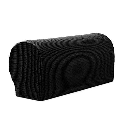 Black Leather Cover (Subrtex Spandex Stretch Armrest Covers Set of 2 (Black))