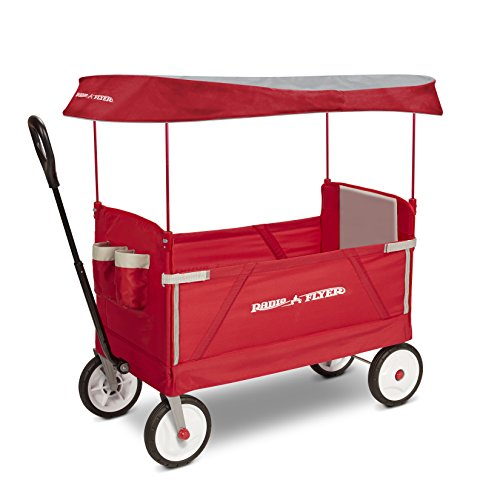 4144H%2BcKulL - Radio Flyer 3-In-1 EZ Folding Wagon with Canopy for kids and cargo