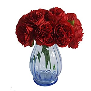 Eternal Blossom Silk Peony Bouquet, 5 Artificial Bouquets Bridal Bouquet Wedding Party Flower Home Garden Decoration (Red) 111