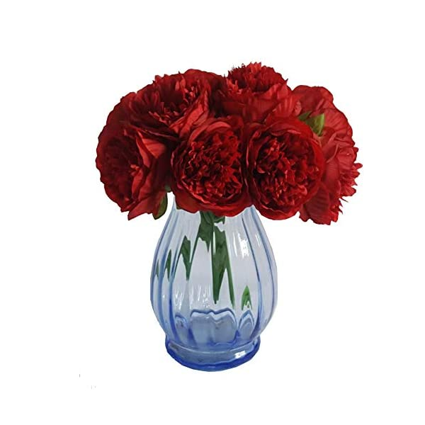 Htmeing 23.6-inch 7 Branches Artificial Orchids Natural Silk Fake Flowers Leaf for Vase Home Decorations Wedding Party Bouquet,Pack of 5 Red