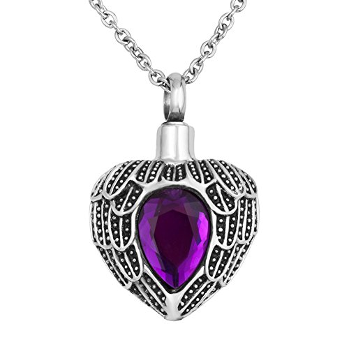 SexyMandala Urn Necklace Ashes Angel Wing Tear Drop Birthstone Urn Pendant Cremation Memorial Jewelry/Purple ()