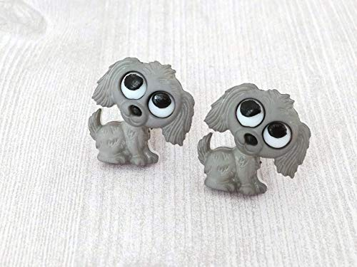 Clip On Earrings Grey Puppy Earrings