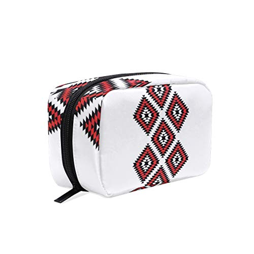 Native American Style Zig Zag Aztec Motif With Embroidery Ornaments Style Theme Travel Makeup Cosmetic Bags Organizer Bag Multifunction Case Pouch Cosmetic and Toiletries