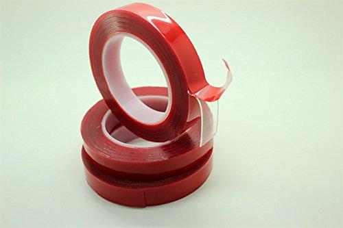per auto dimensioni rotolo: 5/m x 20 mm x 1 mm nastro a tenuta forte nastro biadesivo acrilico trasparente con pellicola in gel di colore rosso l x h x p DiversityWrap