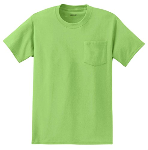Joe's USA Mens Pocket Tee's Heavyweight 6.1-Ounce Pocket T-Shirt-4XL Lime