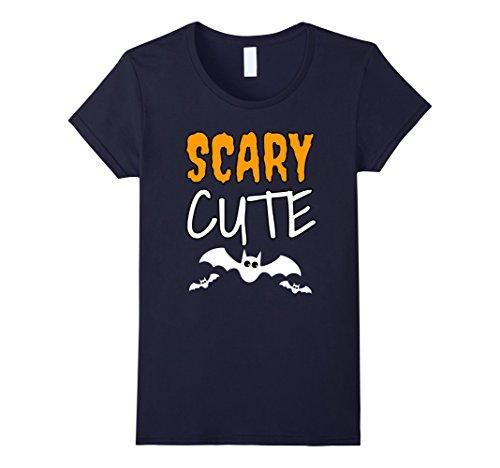 Womens Scary Cute Halloween T-Shirt Flying Bats Shirt Small Navy