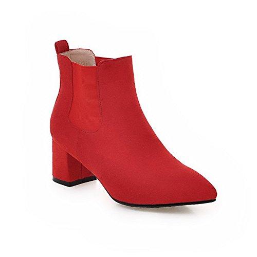 BalaMasa Womens Chunky Heels Elastic Band Mule Imitated Suede Boots Red MxvhF