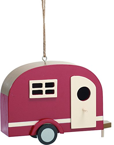 Happy Camper Retro Red 8 x 6 Inch Small Wood Indoor Outdoor Birdhouse