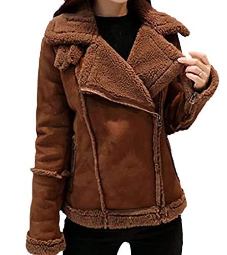Howme-Women Suede Nap Notched Lapel Sherpa Collar Walker Coat Coffee