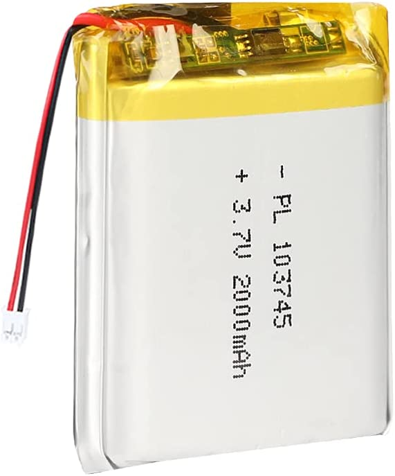 3.7V 2000mAh 103745 Lipo Battery Rechargeable Lithium Polymer ion Battery Pack with JST Connector
