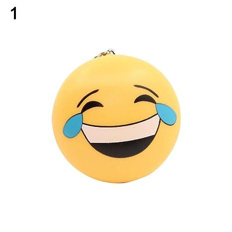 MAJGLGE - Llavero con diseño de Emoticono de Sonrisa con luz ...