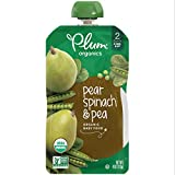 Plum Organics Stage 2, Organic Baby Food, Pear, Spinach and Pea, 4 ounce pouch; Pack of 12 (Packaging May Vary)