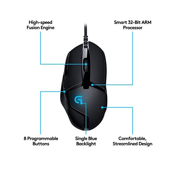 Logitech G402 Hyperion Fury Wired Gaming Mouse, 4,000 DPI, Lightweight, 8 Programmable Buttons, Compatible with PC/Mac - Black