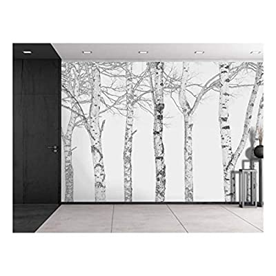Black and White Outline of Aspen Trees - Wall Mural, Removable Sticker, Home Decor - 66x96 inches