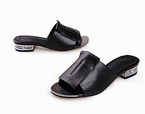 primera capa de piel de sandalias de cuero y sandalias de los deslizadores de las mujeres Black