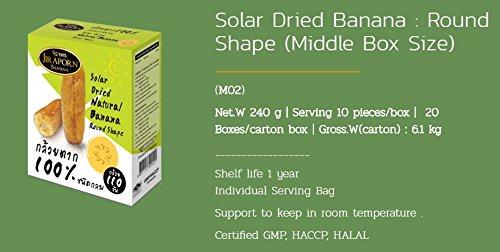 Jiraporn Solar Dried Natural Banana Round Shape 240g.