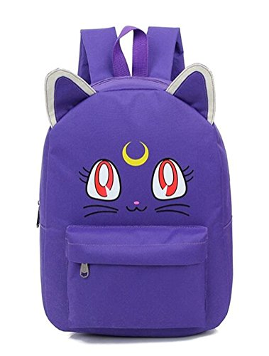YOYOSHome Anime Sailor Moon Cosplay Luna Daypack Backpack School Bag (6 Colors) (Purple)