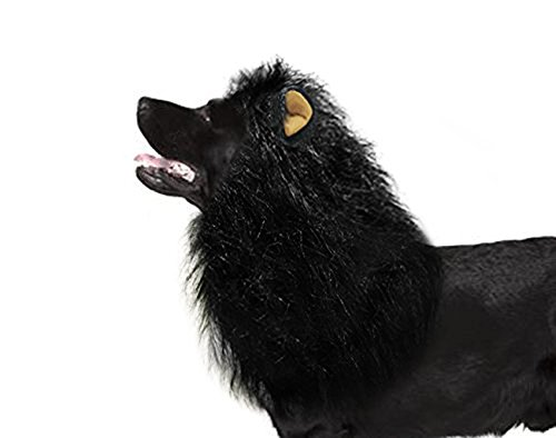 HWAYO Dog Lion Mane, Funny Dog Lion Wig for Medium to Large Sized Dogs, Lion Mane for Pet Festival Party Fancy Hair Dog Clothes Costume, Black