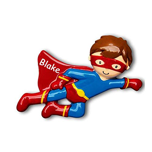 Personalized Brunette Flying Superhero Super Boy in Red and Blue Uniform Costume with Mask Hanging Christmas Ornament with Custom Name