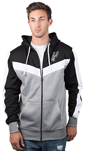 NBA Men's San Antonio Spurs Full Zip Hoodie Sweatshirt Jacket Contrast Back Cut, X-Large, - Hoody Logo Team
